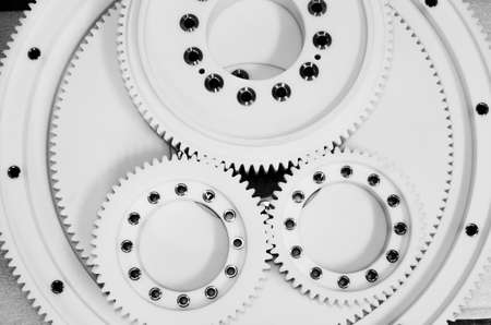 White gear plastic sprocket wheel parts product photography Banque d'images