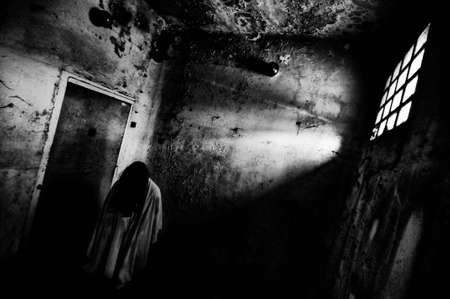 Horror the ring costume scary woman with black hairs in creepy building