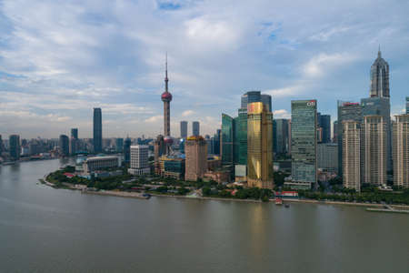 Shanghai city in China Asia aerial drone photo