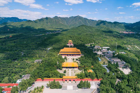 Ming Tombs Changling mausoleum in China Asia aerial drone photo