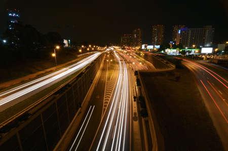 Katowice city at night highway in Katowice Silesia Poland
