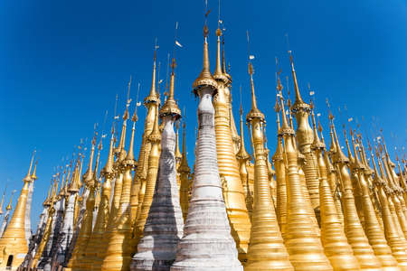 Shwe Indein Pagoda, Buddhist pagodas in the village of Indein, Inle Lake in Shan State, Myanmar Burma