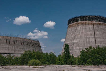 Cooling stack of Reactors building in Pripyat, Chernobyl exclusion Zone. Chernobyl Nuclear Power Plant Zone of Alienation in Ukraine Soviet Union Archivio Fotografico