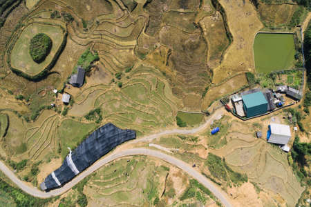 Rice Fields, rice terrace Paddy in Sa Pa Lao Cai Vietnam Asia Aerial Drone Photo View