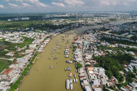 Can Tho fourth-largest city in Vietnam, largest city in the Mekong river Delta in Asia Aerial drone photo view