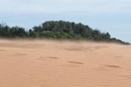 White sand dunes with blue skies, Mui Ne, Vietnam, Asia