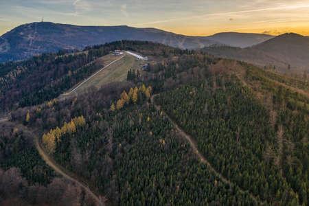 Polish mountains in Silesia Beskid in Szczyrk. Skrzyczne hill inPoland in autumn, fall season aerial drone photo view