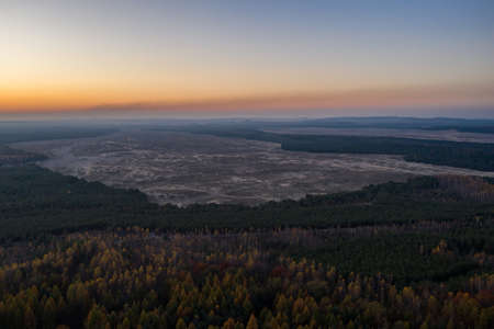 Bledowska Desert sand the largest area of quicksand in Poland. Located on the border of the Silesian Upland, Bledow, Klucze and village of Chechlo, large forest area aerial drone view