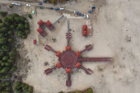 Bledowska Desert sand the largest area of quicksand in Poland. Located on the border of the Silesian Upland, Bledow, Klucze and village of Chechlo, large forest area aerial drone view Stok Fotoğraf