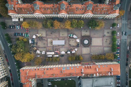 Food truck rally, fast food party in nichy poland aerial drone photo view