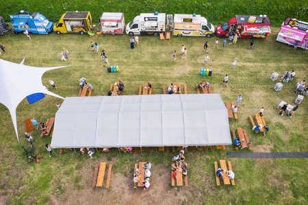 Food truck rally, fast food party in bedzin, silesia poland aerial drone photo view