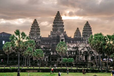 Entrance of Angkor Wat, one of seven wonder world in Siem Reap, Cambodia