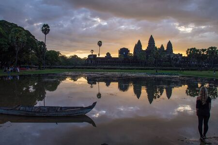 Entrance of Angkor Wat one of seven wonder world in Siem Reap, Cambodia