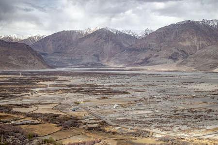 Scene of Hunder Sand Dunes in Nubra Valley in Leh Ladakh, Jammu and Kashmir, India
