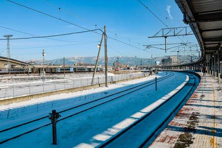 Hakodate, Hokkaido, JAPAN - December 2019: Hokuto Super Train that is express train services between Sapporo and Hakodate, operated by Hokkaido JR Railway Company. 新闻类图片