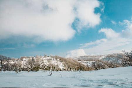 Skiers and Snowboarders in Area of Kiroro ski resort, Hokkaido, Japan. Kiroro Ski Resort is a beautiful place to ski in Japan. 免版税图像 - 156676679