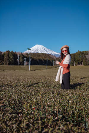 Pretty woman standing in the middle of the tea tree with Fuji Mountian view in Fujinomiya, Shizuoka. Shizuoka is one of the best natural on Tea in the world. 免版税图像 - 156726565