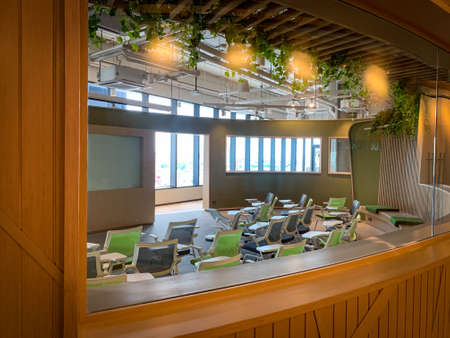 Bangkok, Thailand - June 2020 : Area of True digital park Co-Working Space on social distancing with luxury comfortable design for work as free and relax. Concept of creative cooperate work space. 新闻类图片