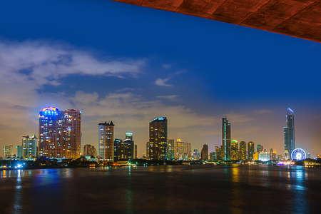 """""""Krungthep bridge"""" Bangkok Thailand and River Thames at Night City Stock Photo"""