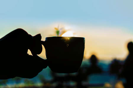 Shadow green tea cup with tea leaves in a cup at morning Banco de Imagens