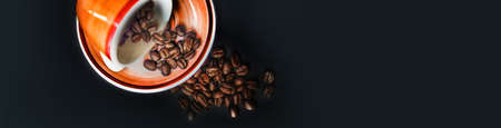 Design of standard horizontal web banners with space for text - Top view cup coffee on black background