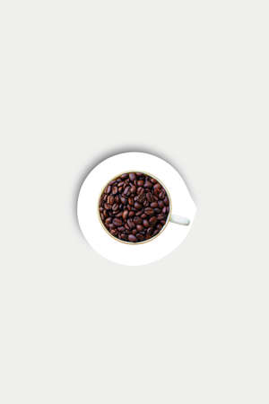 Coffee Beans Cup and Saucer - Design concept with copy space for poster and text