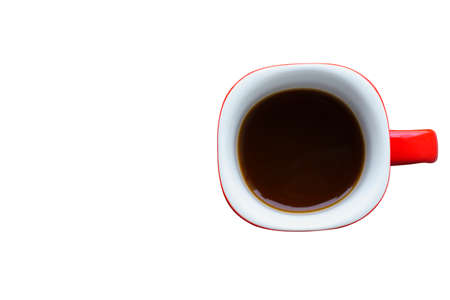 Red coffee cup isolated white backgrounds - Top View