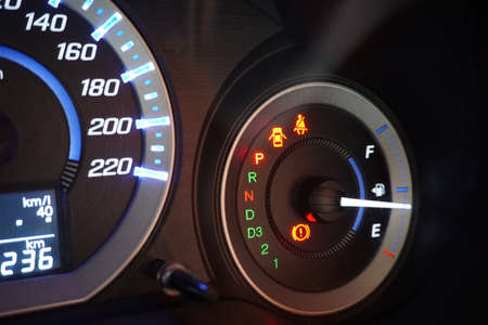 close-up of a dashboard with a speedometer in a car Banco de Imagens