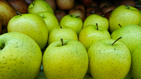 Tasty fresh green apples at grocery store.Buy & eat natural vitamin food.Farmer market department in food shop. Stock fotó