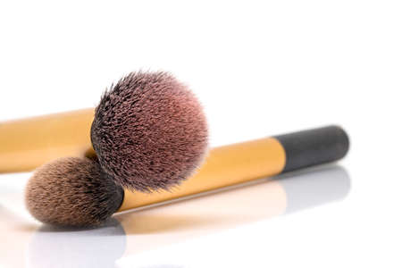 blush: The blush brush use with Blush On for make up, Selective focus and isolate on white background with text space. Stock Photo
