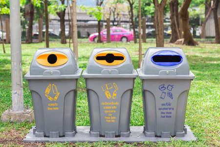 segregate: Bins in park for Glass bottle Can, Plastic bottle, Paper bag Other waste Food waste