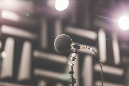High accuracy microphone in noise (sound) testing room with LED light bokeh. High technology. Microphone for nosie recorder. Selective focus. Stock Photo
