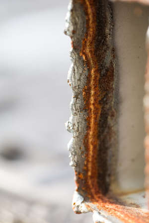 rust red: Red Rust on the edges of the cut steel with heat and gas or LPG.