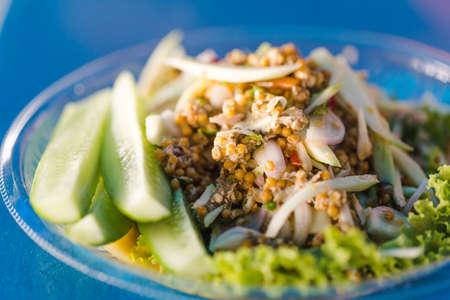 Thai food - Spicy Horseshoe Crab Egg Salad, Pimp egg salad. Thai sea food. Signature menu of Thai sea food.