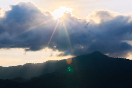 Beautiful of natural landscape. Mountains and blue skies with clouds and sunrise in morning. Stock Photo