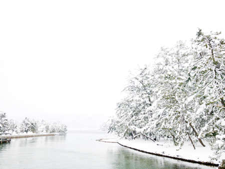 River and tree in snow season 写真素材