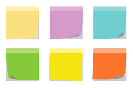 Colors set of sticky notes isolated-vector illustration