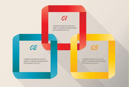 Modern ribbon Infographics isolated-vector illustration with 3 steps, Color set. Çizim