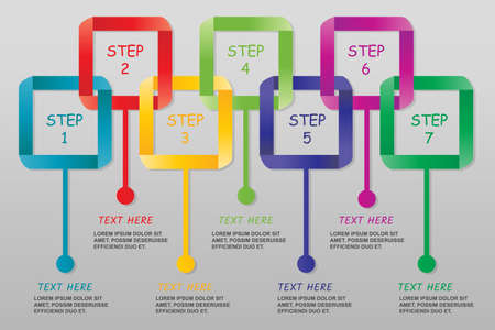Modern ribbon Infographics isolated-vector illustration with 7 steps, Color set. Çizim