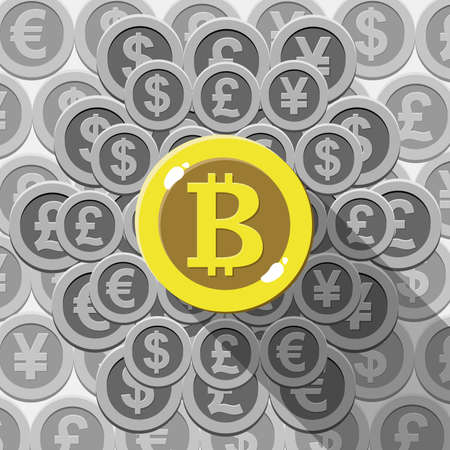 Bitcoin digital currency with dollar, euro, pound , yen and yuan. Bitcoin is king of cryptocurrency. Vector illustration.