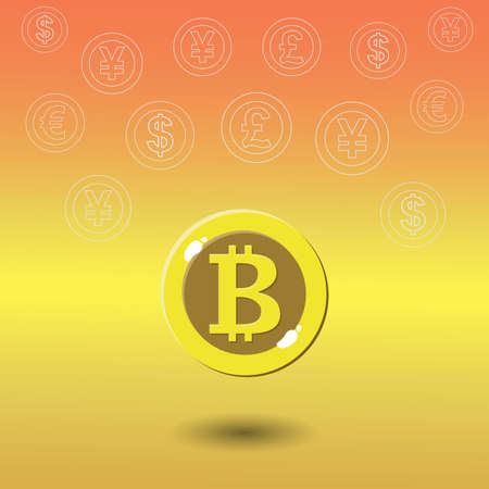 Bitcoin digital currency with dollar, euro, pound , yen and yuan. Bitcoin is king of cryptocurrency.