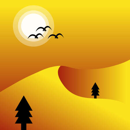 Vector mountain sunset landscape with birds,Vector illustration,Sunset color tone.  イラスト・ベクター素材