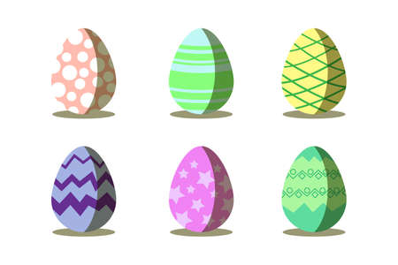 Easter eggs 6 collection.Happy Easter.Flat design with isolated.Vector illustration