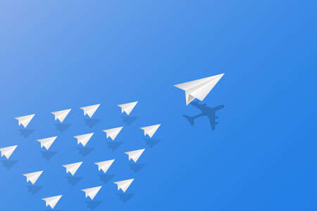 Leadership, teamwork and courage concept, White paper planes with aircraft shadow for leader flying on sky. vector illustration Ilustração