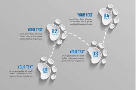 Business infographic design 4 steps with 3D animal footprints.Vector illustration  イラスト・ベクター素材