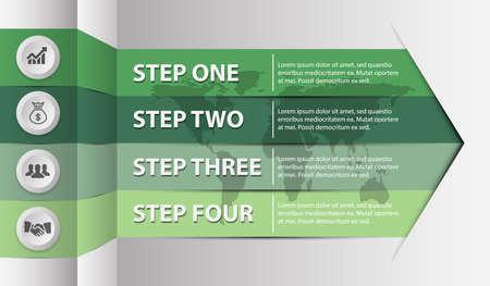 Modern ribbon Infographics-vector illustration with 4 steps, green tone. Çizim