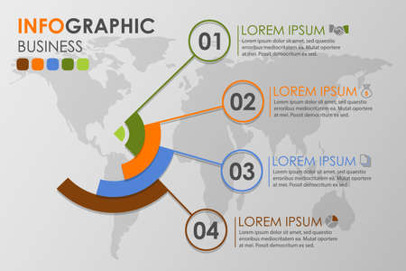Business infographics circle with 4 step and business icons and world map in background,Abstract elements of diagram.Creative concept for infographic.Vector illustration. Çizim