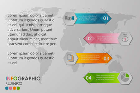 Business infographics circle with 4 step and business icons and world map in background,Abstract elements of diagram.Creative concept for infographic.Vector illustration. Ilustração