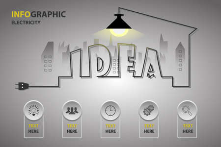 Abstract infographic modern with icons and creative light bulb with wire idea and plug. Business idea vector illustration