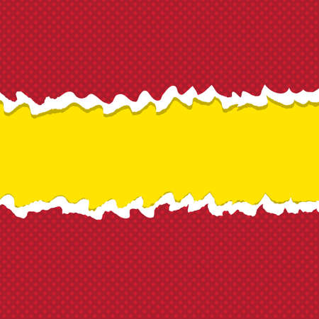 red ripped paper on top and yellow paper in background for copy text space.Vector Illustration